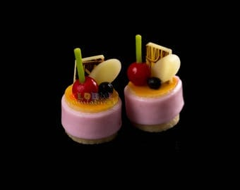 Dollhouse Miniatures Strawberry and Cherry Tart Pastry Decoration Supply - 1:12 Scale