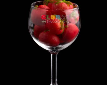 Dollhouse Miniatures Glassware Chardonnay Wine Glass with Loose Tomato