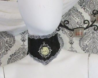 Dragon Skull Cameo Neck Corset, Choker Goth, Gothic, Victorian, Steampunk, OOAK