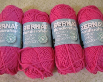 Bernat Handicrafter Cotton yarn -- Hot Pink -- 1.75 oz /50g -- 80 Yards -- 100% Cotton -- 4 Skeins