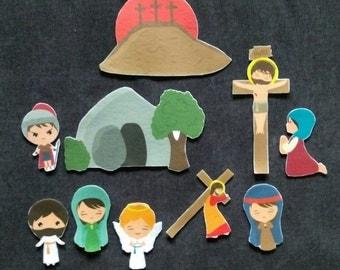 The Resurrection -Bible Story Felt Board Set// Flannel Board Story Set // He Is Risen // Preschool  // Sunday School // Easter Story/