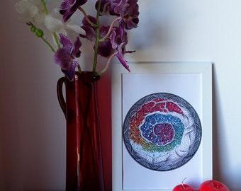 Circle of life, rainbow zedoodle tree of life.