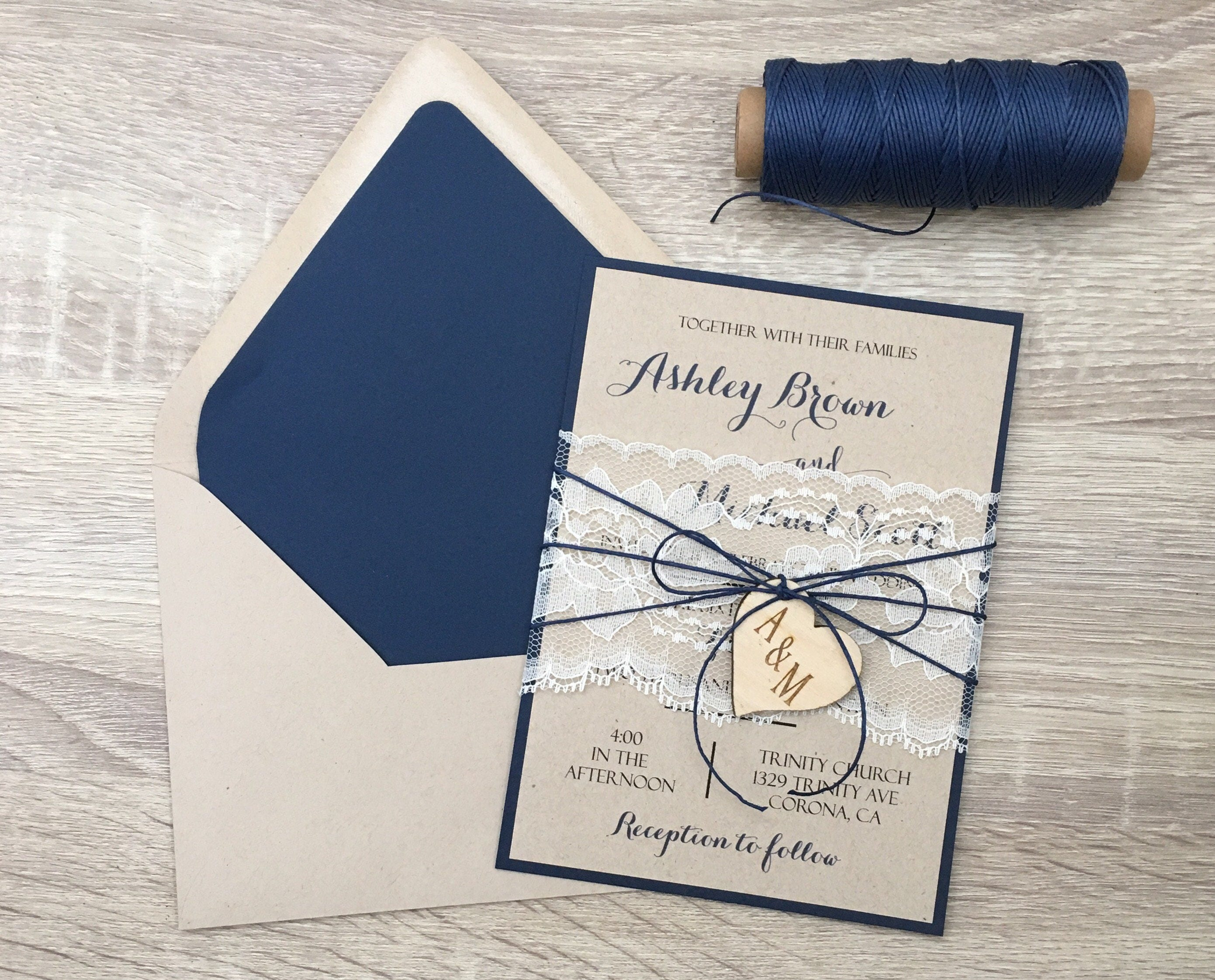 Blue Wedding Invitation: Navy Blue Wedding Invitation Lace Wedding Invitation Rustic