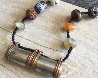 Mantra case necklace, mantra locket necklace, stone locket necklace, stone beaded necklace, boho mantra necklace, gypsy locket necklace