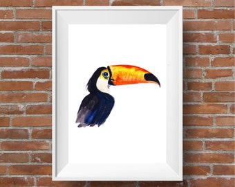 Toucan, Print, Thomas the Toucan, Art Print, A3, A4 tropical bird print