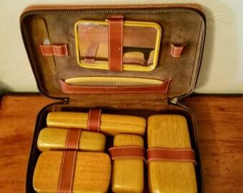 Vintage travel grooming kit Men's Toiletry kit Mid Century