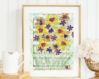 This is my father's world - Hymn - Watercolor painting - Old Hymn Sheet Music - Wildflowers
