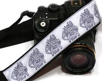 Elephants Camera Strap. Gray Camera Strap.  DSLR Camera Strap. Canon, Nikon Camera Strap. Camera Accessories