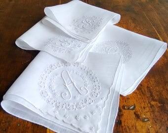 4 Vintage Fine Linen Handkerchiefs