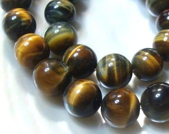 1/2 Strand, 10mm Natural Tigereye Round Beads, Beautiful Brown Gray, B-0006