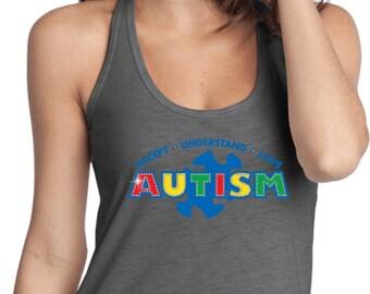 Ladies Autism Accept Understand Love T-Back Tank Top XIT-13562-DT250