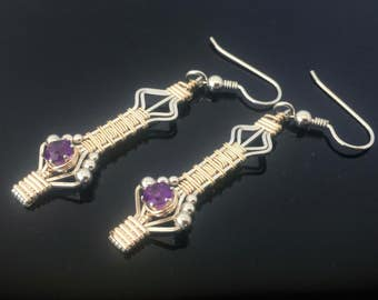 Wire Wrapped Natural African Amethyst Drop And Dangle Gemstone Earrings Precious Metal Wire Wrapped Earrings