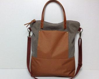 Brown tote bag,Tote bag, Canvas bag, Canvas tote bag,Laptob bag woman,School bag,Shoulder bag,Woman bag,City bag,Messenger bag.Crossbody bag