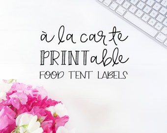 Printable Food Tent Labels, A La Carte Food Tent Labels, A La Carte Printable Food Tent Labels