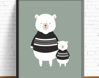 bear nursery print, nursery print, poster bear, white black print, animal print, kids room decor, kids art room, nursery decor,nursery print