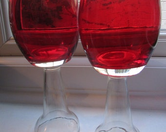 Ruby Red Large Goblets (pair)
