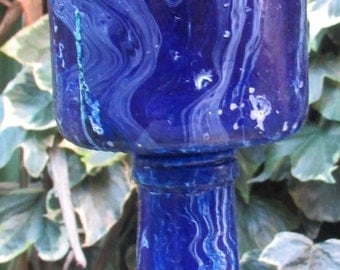 Deep Blue Marbled Goblet
