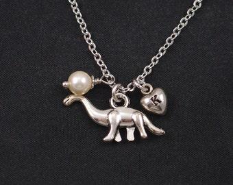 dinosaur necklace, initial necklace, Swarovski pearl choice, silver brontosaurus charm, apatosaurus necklace, paleontology,longneck dinosaur