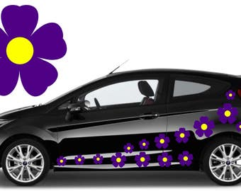32,purple & yellow flower car decals,stickers in three sizes