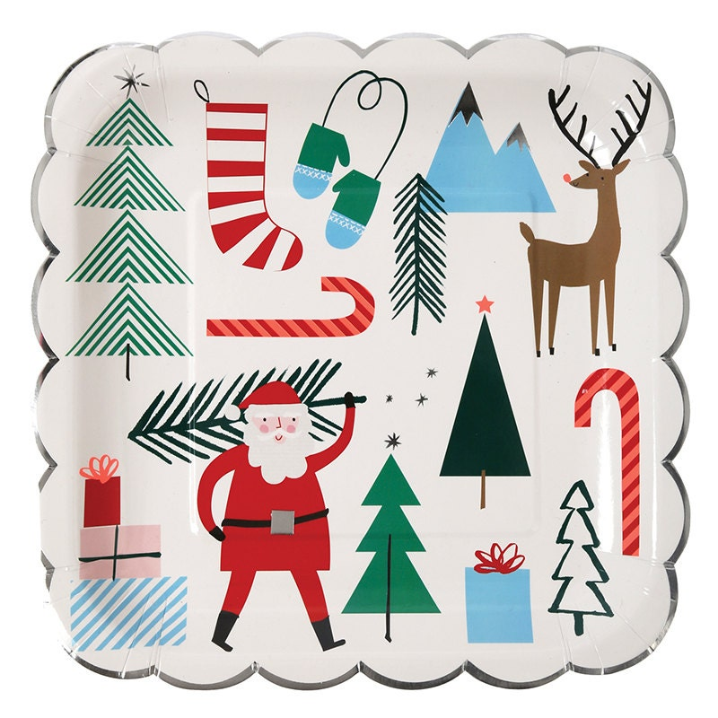 16 christmas plates paper plates christmas party plates santa plates 16 - Decorative Christmas Plates