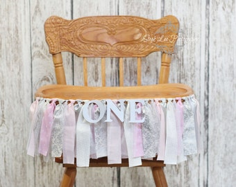 Pink and Silver Winter Onederland High Chair Banner, Pink and Silver First 1st Birthday, Winter Wonderland, Girl First 1st Birthday Banner