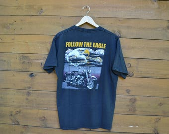 """Vintage 1990's Motorcycle T-Shirt """"Follow the Eagle"""" Bald Eagle Made in the US Size Large?"""