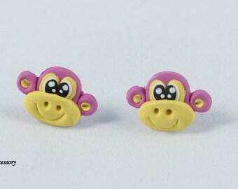 monkey earrings, Smile Purple Monkey Earrings, earrings clay, jewelry earrings