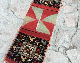 Vintage  Turkish Saddlebag  Rug / 4'1'' x 1'5'2 ft / 1.24 x 0.42 mt