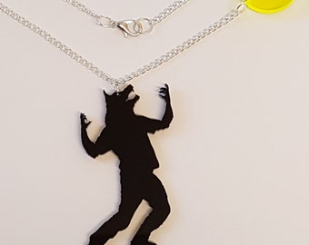 Werewolf howling at the moon Necklace - Acrylic