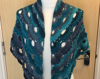 Virus Shawl, Shawl, Wrap, Mothers Day Gift, Blue, Scarf