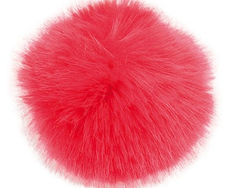 Pom Pom fake fur 10 cm diameter in colour red for crazy bobble hats as keyring or for your mirror in the car pompom multipurpose
