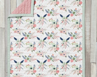 Wholecloth Quilt / Baby Blanket / Mini Quilt / Toddler Quilt / Gracie Collection by Fabricology / Woodland Floral / Baby Girl Gift / Nursery