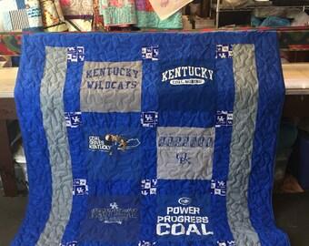 6 Shirt T-shirt Quilt, lap size quilt, throw size quilt,  couch quilt, graduation quilt, memory quilt, memorial quilt, college quilt!