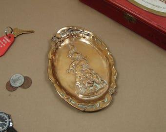 Vintage Mid Century Musicians of Bremen Solid Brass Trinket Tray / Wall Decor Plate / Ring Holder