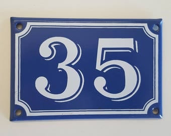 Vintage French enamel HOUSE NUMBER SIGN 35 Blue and white