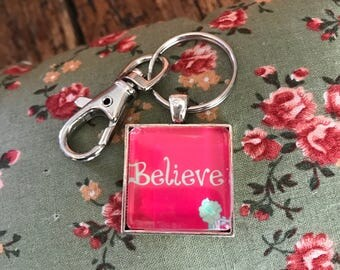 Believe -  Glass Charm Keychain