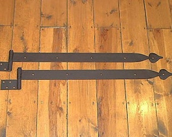 "Pair of 31"" x 2"" Iron Strap Hinges ""Extra Heavy Duty"" Spade Motif. Position B."
