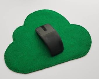 Green Felt Mouse Pad, Cloud Shape Mouse Pad, Non-slip Mouse Pad, no slip, Green Mouse pad, No Slippage Moues Pad