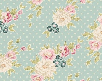 Fat Quarter Tilda Fabric - Cybill, Powder Blue. Patchwork and Quilt Designer Fabric. Floral Pattern Sewing fabric for DIY Home Textile Decor