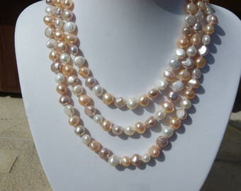large 1 m 25 of natural pearls pink and white necklace Baroque