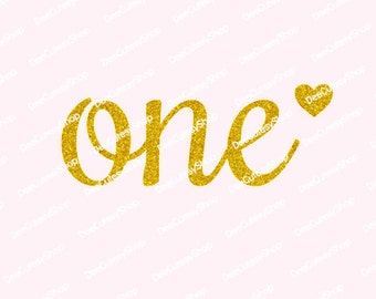 One Iron On, Non-Shed Glitter, Gold, Heart, Iron On, DIY, Shirt Iron-On Heat Transfer, Glitter, First Birthday, NOT DIGITAL, Iron-On Decal