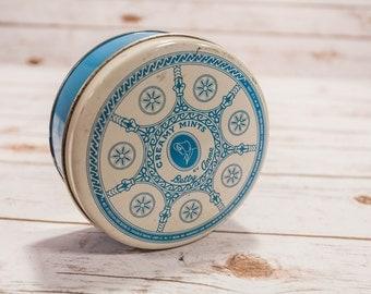Vintage Betty Anne Creamy Mints Blue White Tin Round Decorative Kitchen Home Decor Fort Wayne Indiana FREE SHIPPING