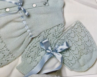 Handknitted traditional Baby Bonnet and Bootie Set made to Order