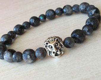 Labradorite Lion/Gray Leo Bracelet/Lion King Bracelet/Gift for Men/Lionhead Jewelry/Protection Bracelet/Antique Silver Lion/Leeuwenkoning