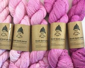 Gradient set/ hand dyed/ recycled/ upcycled yarn/ light fingering/ pink/ eco yarn/ wool cotton blend/ The First Twilight