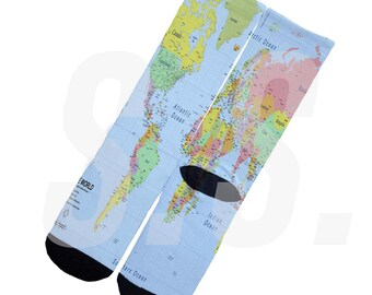 Custom Socks - World Map! Globe Country Continent elites elite sock