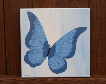 Beautiful Blue Butterfly handpainted on a 10x10 Canvas