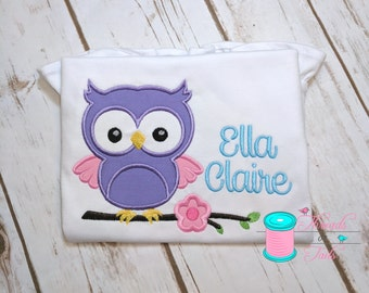 Owl Shirt - Owl Applique Shirt - Birthday Shirt - Girl Owl Shirt - Owl Bodysuit - Owl Birthday - Owl Birthday Shirt