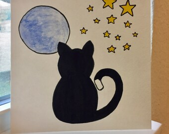 Black cat gazing at the moon and stars, original art