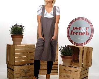 Linen X Back Apron, Linen Dress Apron, Linen Japanese Apron, Linen Apron Dress, Linen Dress, Artist Apron, CHARCOAL